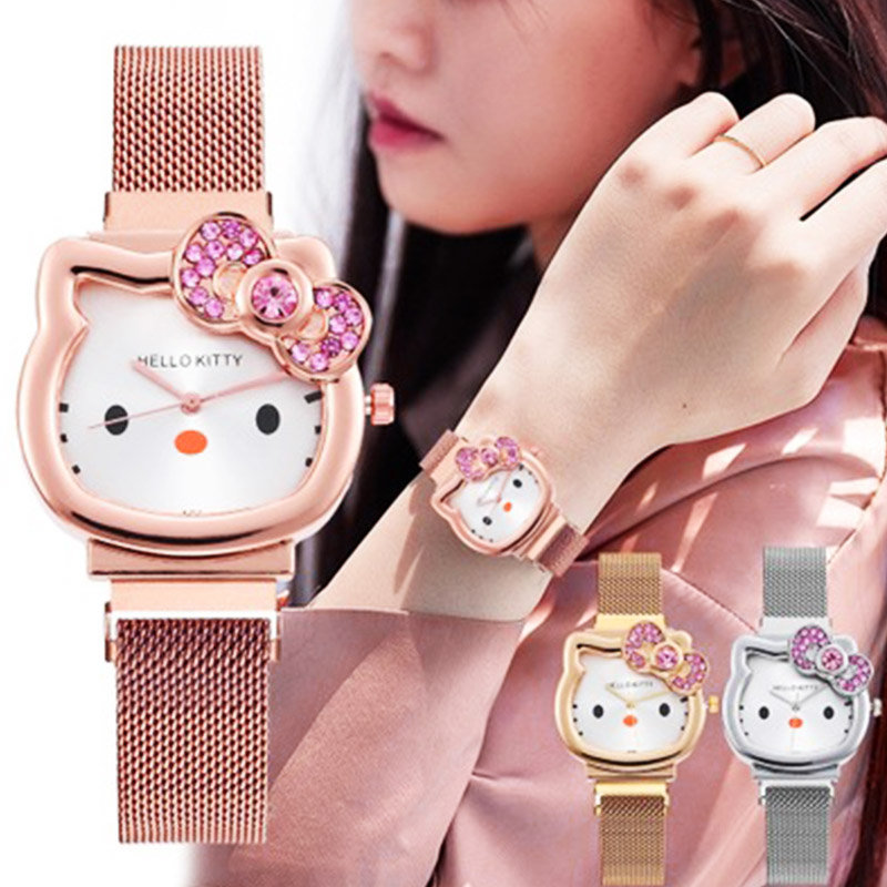 Cartoon Children's Rhinestone Bracelet Clock Cute Animal Dial Girl Watch Stainless Steel Classic Student Monterrey F. Fanti