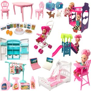 NK Mix Doll Furniture Fashion Computer Chair Mini Slide Fridge Bags Pets For Barbie Accessories For Kelly Doll DIY Toy JJ