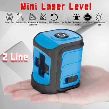 Mini 2 Line Laser Level Green/Blue/Red Light Self Leveling 360° Rotary Measure Cross Waterproof Wear-resisting Battery Operated
