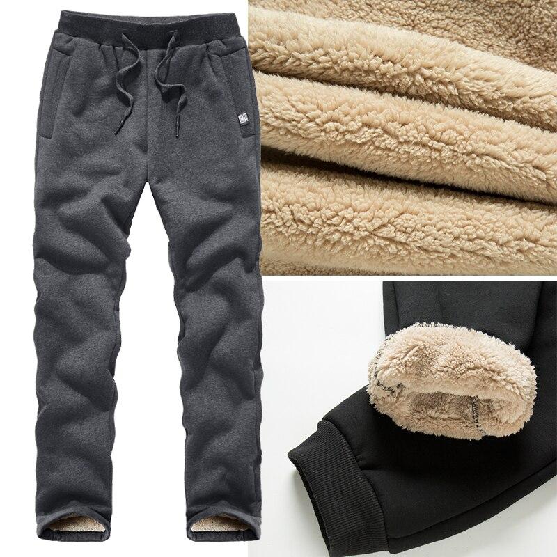 Размера плюс 6XL 7XL 8XL утепленные штаны Зимние мужские флисовые штаны, плотные утепленные штаны мужской шерстяной Повседневный Брюки Спорт на...