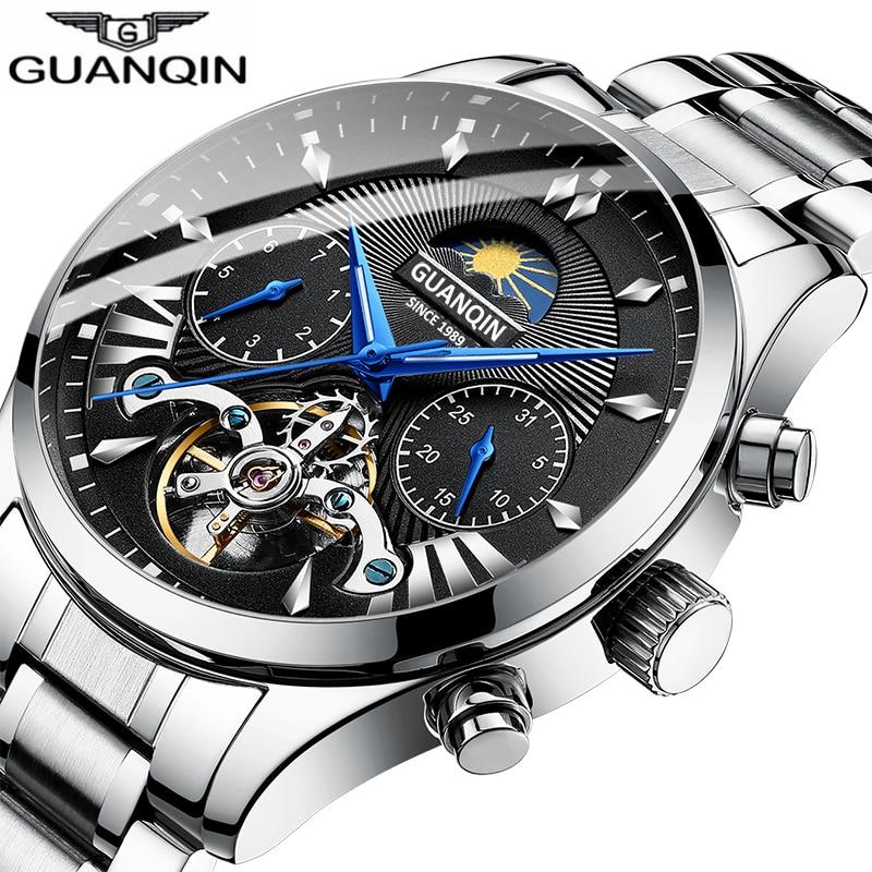 GUANQIN Automatic Business Men Watch Mechanical Men's Watches Tourbillon Design Mens Clock Reloj Hombr