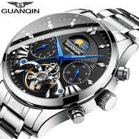 Guanqin automático/mecánico/reloj de lujo reloj para hombre/hombre relojes 2019 marca superior de lujo de oro tourbillon para hombre