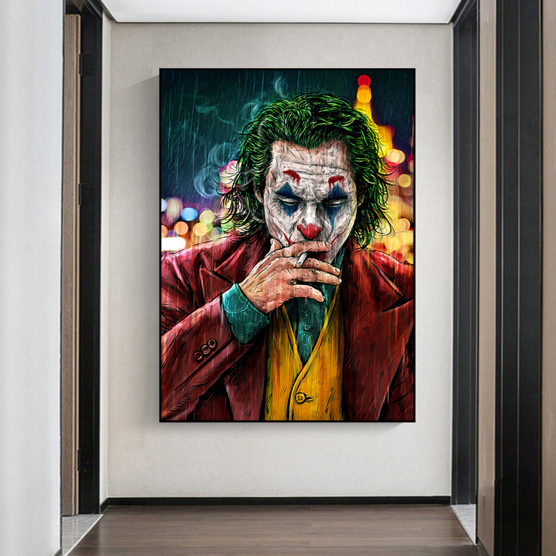 Movie Star The Joker Oil Canvas Painting Poster Prints Joker Comic Wall Art Painting Pictures for Living Room Home Decor(China)