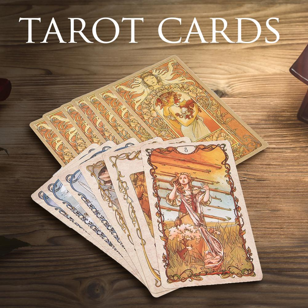 78Pcs Tarot Mucha Tarot Cards Board Party Game Playing Game Cards For Party Family Card Games New Year Gifts