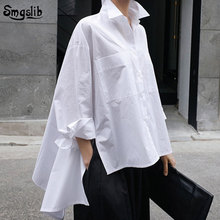 2019 New Autumn Winter Lapel Long Sleeve jersey White Back Long Loose Big Size Irregular Shirt Women Blouse Fashion Tide [eam] 2018 new autumn lapel long sleeve white printed one pocket loose big size shirt women blouse fashion tide je63301