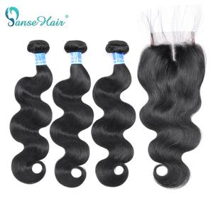 Body Wave 100% Human Hair 3 Bundles With Frontal Peruvian Non-Remy Hair Bundles With One Lace Frontal Customized 8-28 Inches