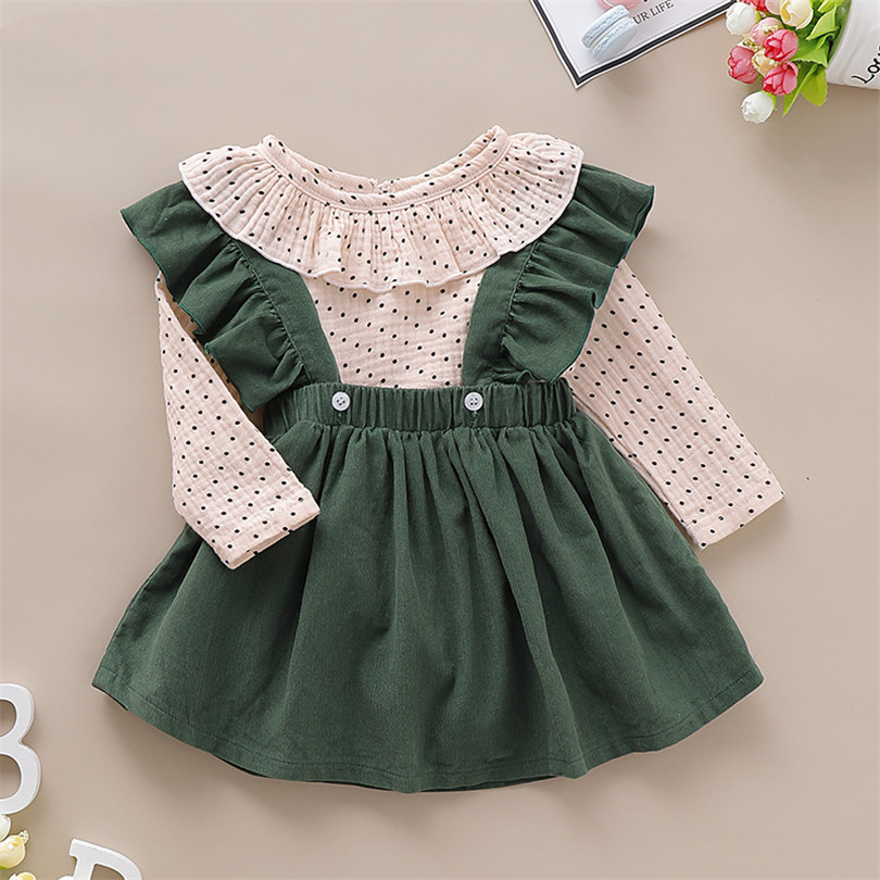 Newborn Baby Girl Clothes Set Cotton Spring Baby Clothing Set Ruffle Romper + Dress 2pcs New born Infant Girl Clothes Outfits