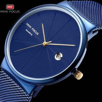 MINI FOCUS Men Watches 2018 Luxury Brand Quartz Clock Ultra Thin Blue Mesh Strap Date Display Fashion Concise Wristwatch + BOX