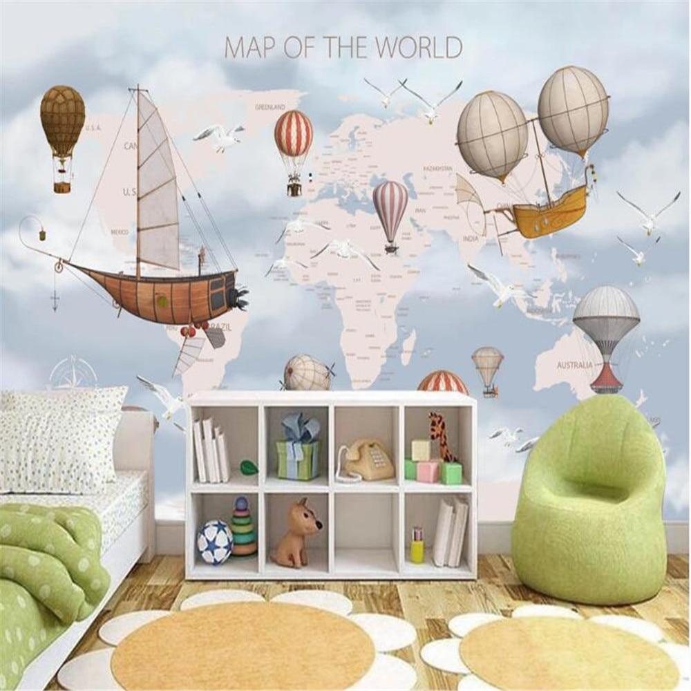 Milofi custom 3D wallpaper mural children cartoon world map background wall silk cloth wall cloth