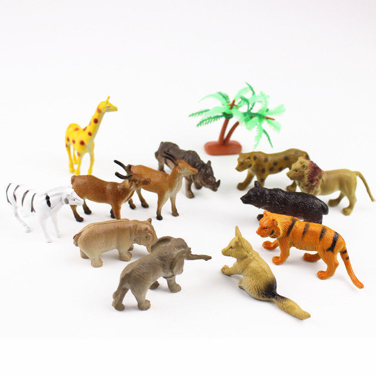 12PCS Zoo Animal Model Action Figure  Tiger Leopard Hippo Giraffe Kids Toy