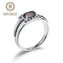 GEMS בלט 0.75Ct טבעי סמוקי קוורץ חן טבעות 925 סטרלינג כסף עתיק סגנון טבעת לתכשיטי נשים