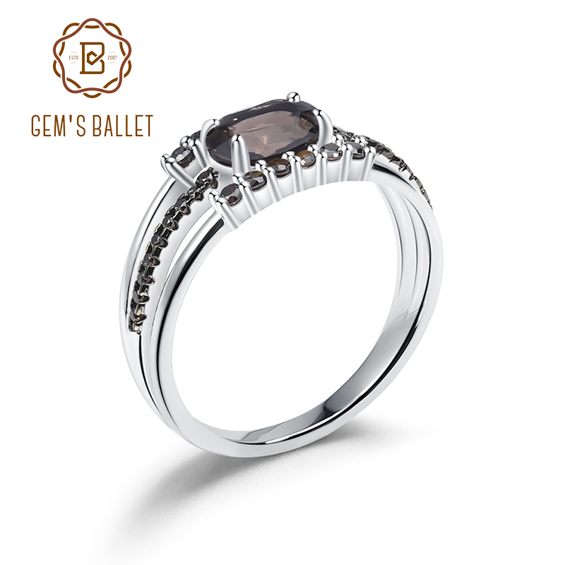 GEM'S BALLET 0.75Ct Natural Smoky Quartz Gemstone Rings 925 Sterling Silver Antique Style Ring  For Women  Fine Jewelry