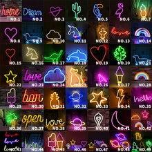Неоновый светильник вечерние стене висит Творческие деревянные светодиодный неоновая вывеска для организаций и магазинов для витрину худ...