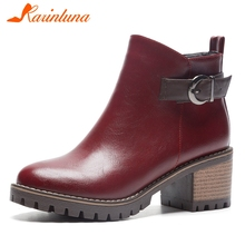 купить KARINLUNA New Fashion Large Size 31-43 Ankle Boots Women Shoes Woman Zip Chunky Heels Belt Buckle Fur Winter Shoes Woman Boots дешево
