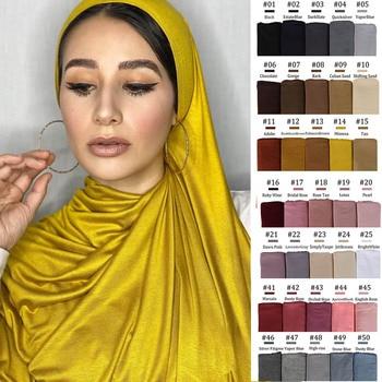170X60cm Plain Cotton Jersey Hijab Scarf Shawl Solid Color With Good Stitch Stretchy Soft Turban