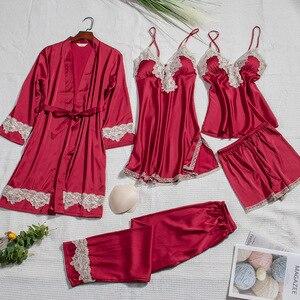 Image 4 - 2019 Silk Pajamas for Women Autumn Winter Pyjamas Satin Sleepwear V Neck Lace Nightwear 5 Piece Sets Pijama Chest Pads