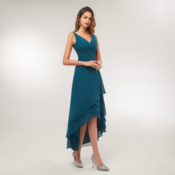 2020 Turquoise Chiffon V Neck Pleated Tea Length High Low Mother Of The Bride Dress Vestido De Madrinha tea length mother of the bride dress with jacket long sleeves chiffon with beading appliques vestido de festa madrinha v neck