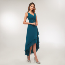 2020 Turquoise Chiffon V Neck Pleated Tea Length High Low Mo