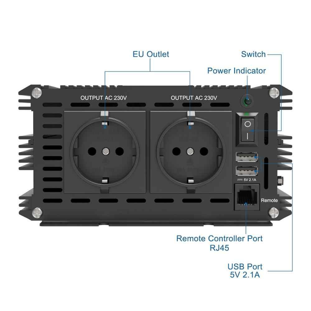 EDECOA 12V 220V czysta fala sinusoidalna przetwornica napięcia 1500w 3000w szczytowy konwerter z pilotem i portem USB 5V 2.1A
