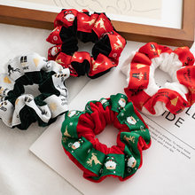 2020 Christmas Fashion Girls New Flannel Webbing Hair Rope Ponytail Holder Elastic Fluffy Hair Tie(China)