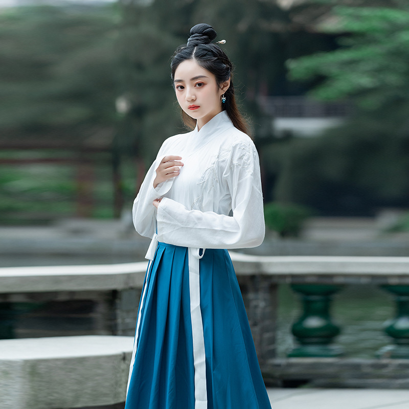 White Dynastie Tang Chinese Costume Clothing Traditional Vintage Hanfu Vintage Cotton Han Element Women Man Blue Skirt Elegant