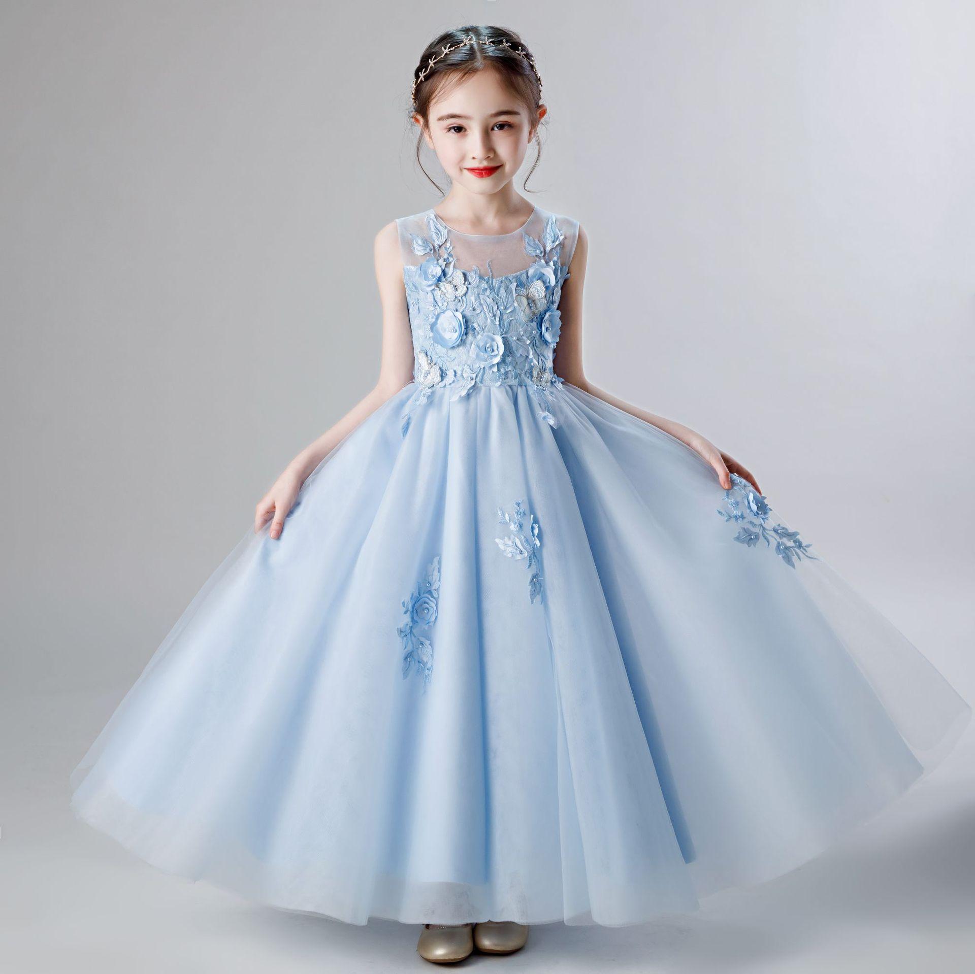 Gril's Dress Summer New Style CHILDREN'S Dress Princess Dress Girls' Long Skirt Western Style Puffy Yarn Baby Girls Skirt
