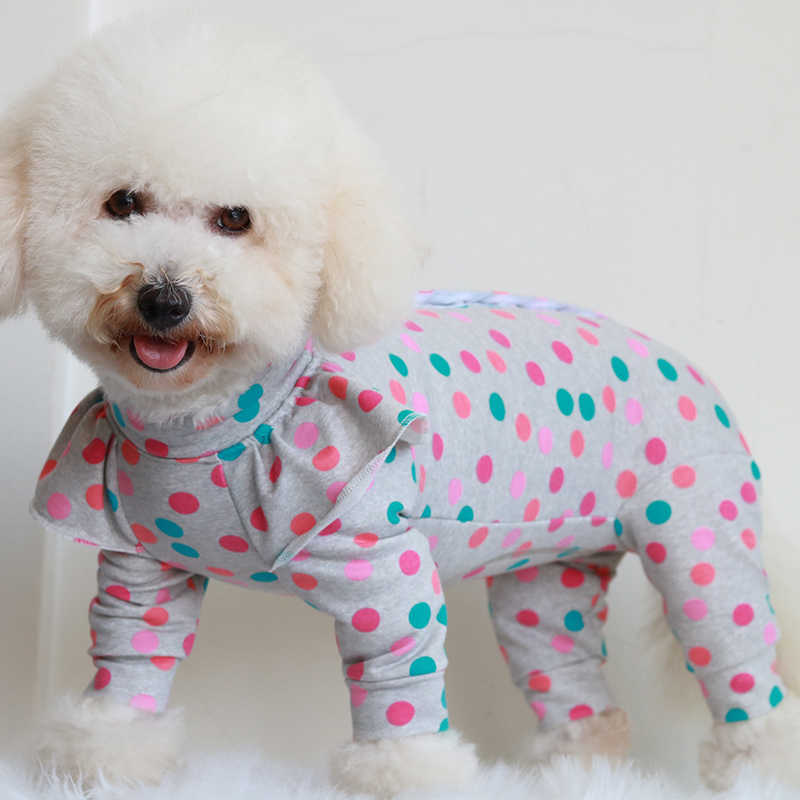 Pet Dog Jumpsuit 100%Cotton Puppy Clothes Protect Belly Overalls  For Small Dogs Puff Sleeve Pajamas Chihuahua Poodle Sweatshirt