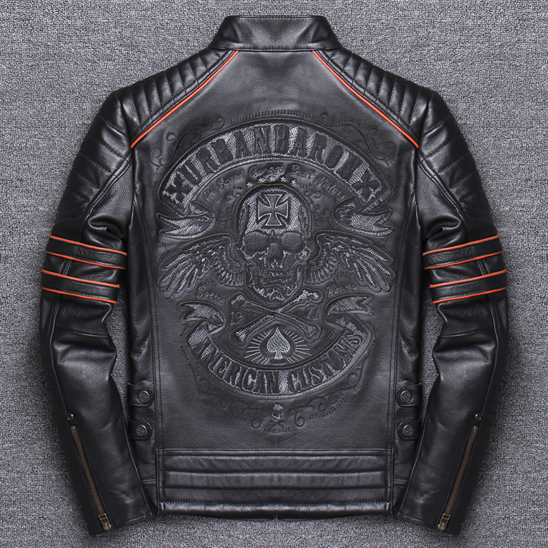 Jianlou Genuine Clothing Man Head Layer Pure Cowhide Self-cultivation Short Fund Leather Jacket Stand Lead Cowhide
