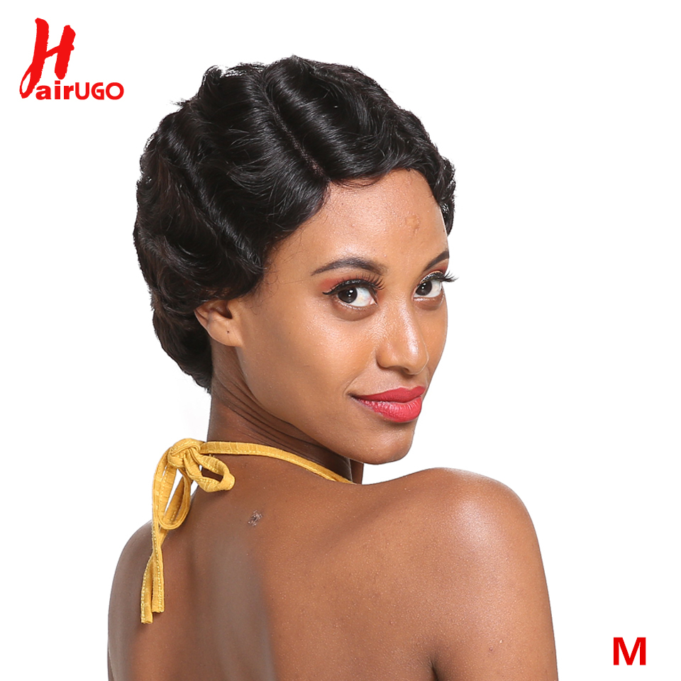 HairUGo Short Lace Human Hair Wigs Brazilian Ocean Finger Wave Remy Human Hair Lace Part Wigs For Black Women 1B #2 Middle Ratio