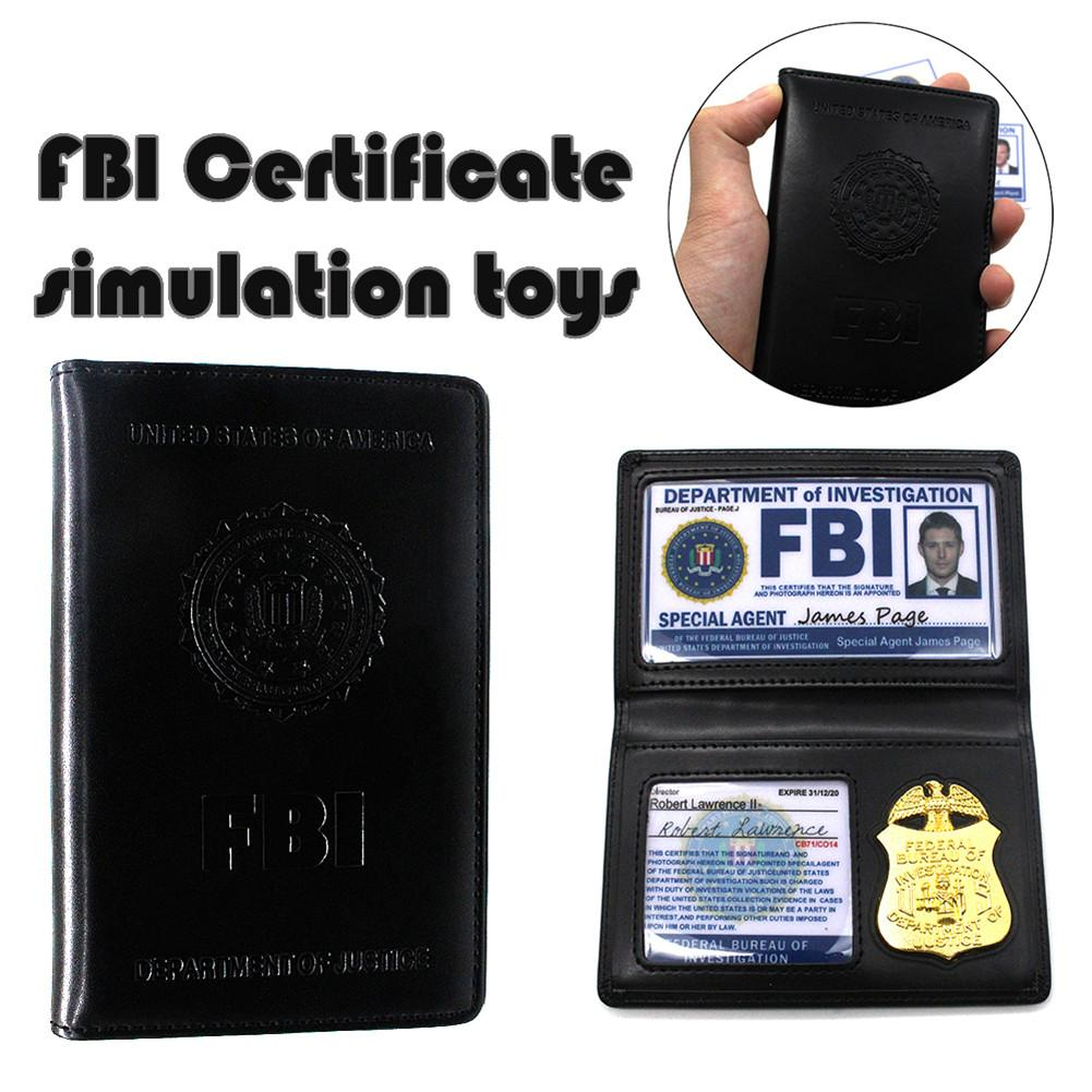 Kids Role Occupations Playing Toys Supernatural Dean Sam Winchester FBI Badge Card Holder Policeman ID Cards Wallets Holder