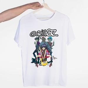 Gorillaz Rock Band ChakaKhan Noodle Murdoc Russel T-shirt O-Neck Short Sleeves Summer Casual Fashion Unisex Men and Women Tshirt(China)