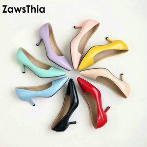 Image 1 - ZawsThia yüksek topuklu kadın pompaları ince topuk klasik sarı mor seksi bayanlar ofis kariyer ayakkabı kadın elbise ayakkabı stilettos