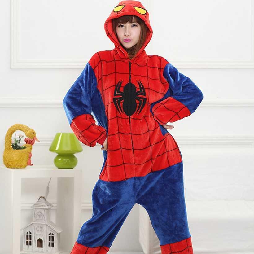 着ぐるみスパイダーマンヒーロー onesies パジャマセット動物衣装パジャマユニセックス漫画コスプレ文字 pijamas パジャマ