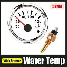 40 120 ℃ מים טמפ מד עם M16 * 1.5 טמפרטורת מים חיישן שולח 52mm מד טמפ המים מחוון לרכב סירת אופנוע