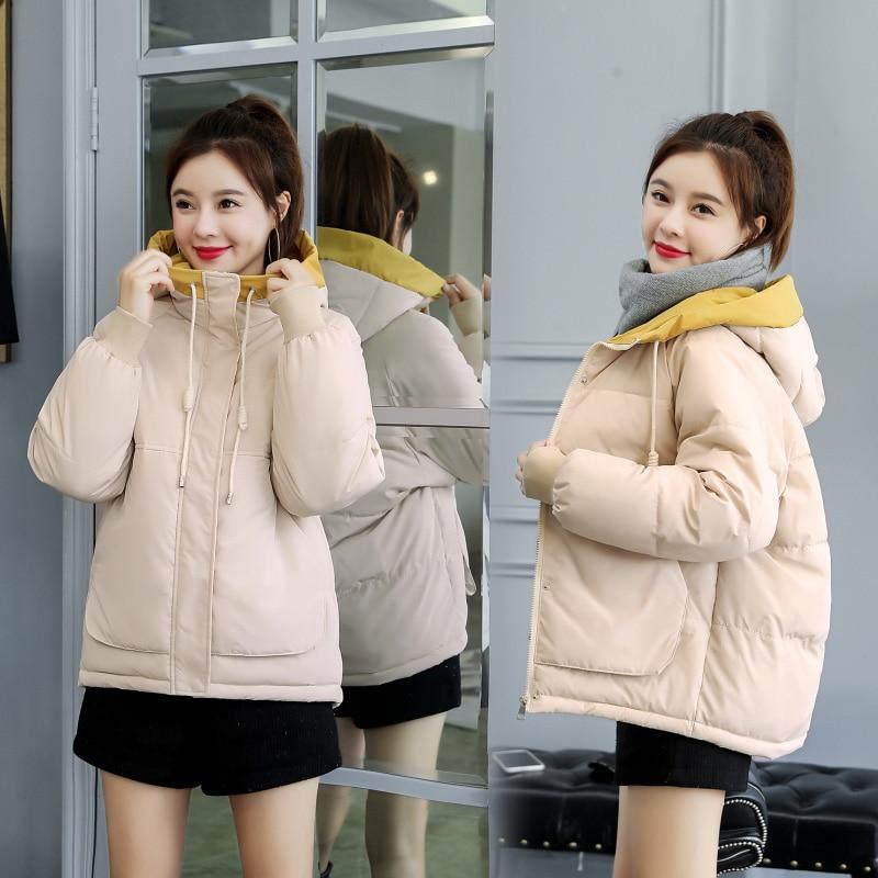 Solid Plus Size Hooded Down Coat Women Winter Warm Windproof Bread Coat Jackets Female Streetwears Cotton Parka Short Outerwears
