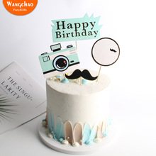 Camera Happy Birthday Cake Topper Decoration Adult Kids Fathers Day Party Supplies