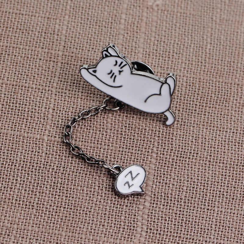 Zrm 수면 흰 고양이 핀 slept 블루 코끼리 브로치 코 고는 펭귄 쥬얼리 소파 핑크 돼지 에나멜 브로치 여자 아이들을위한