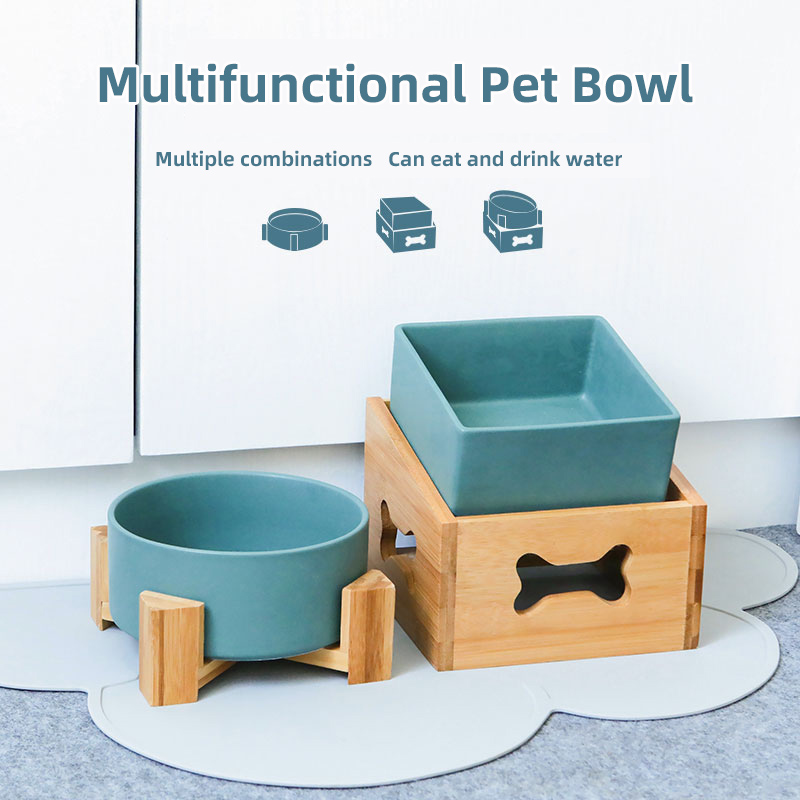 Ceramic Dog Cat Pet Puppy Bowl Feeding Feeder Water Bowl Detachable Height Adjustable High Capacity Single And Double Bowl