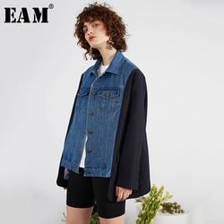 [EAM] Lose Fit Schwarz Gestreiften Denim Split Joint Große Größe Jacke Neue Revers Lange Hülse Frauen Mantel Mode flut Frühjahr 2020 1R556