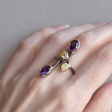 Fashion Branch Purple Color stones Ring Gift for young lady Jewelry Long design Rings Girl CZ Jewellery(China)