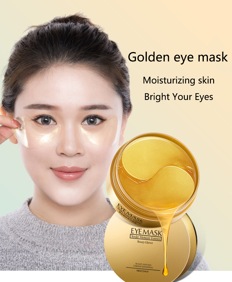 60 Pieces Golden Collagen Mask Lady Natural Moisturizing Gel Eye patches Remove Dark Circles Anti Age Bag Eye Wrinkle Skin Care -