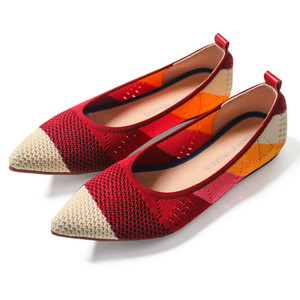 Image 2 - New Womens Casual flats bailarinas luxury Brand Shallow Mouth Pointed Ballet Female Boat Shoes wool Knitted Maternity loafers