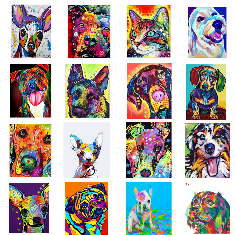 GATYZTORY Coloring By Numbers Dog Painting By Numbers For Adult Canvas Drawing Animal Oil Painting HandPainted Home Decor Gift