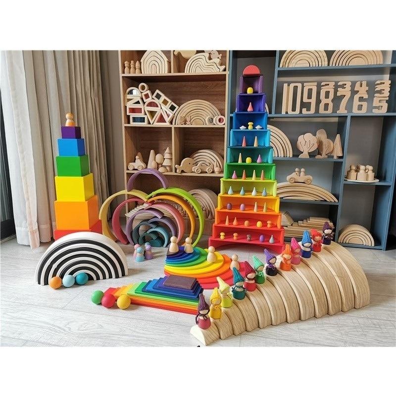 Große Holz Regenbogen Bausteine Holz Kugeln Platte Figuren Regenbogen Stacking Blocks Montessori Weiche Warme Farbe Blöcke Spielzeug