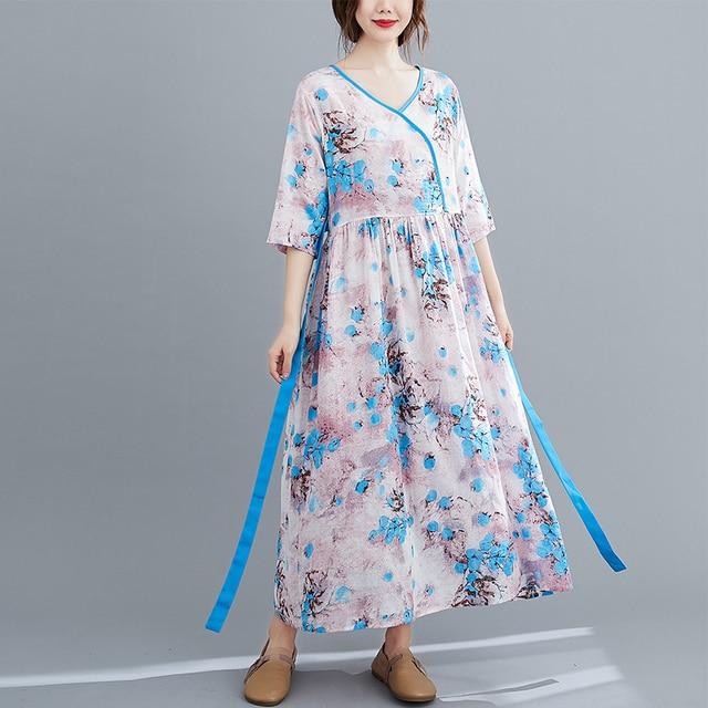 Half Sleeve Loose Summer Autumn Dress V-neck Sashes High Waist Women Dress Print Floral Vintage Dress Female Casual Midi Dress 3