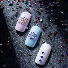 1 Box 720pcs Flat Back Acrylic Rhinestones Nail Art Decoration 3d Square Rectangle Mixed Color Manicure Tools