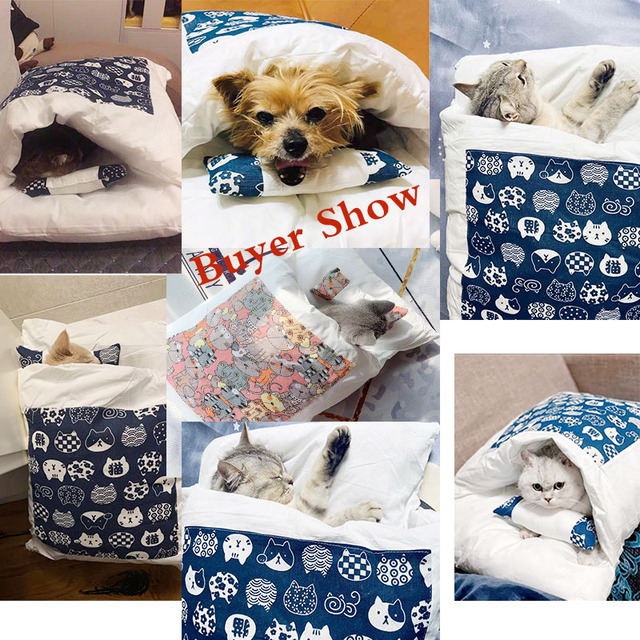 Japanese Cat Bed Winter Removable Warm Cat Sleeping Bag Deep Sleep Pet Dog Bed House Cats Nest Cushion with pillow 6