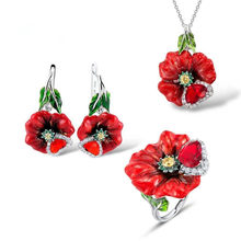 Deluxe 925 Silver Love Red Rose Enamel Pendant Necklace Earrings Jewelry suit(China)