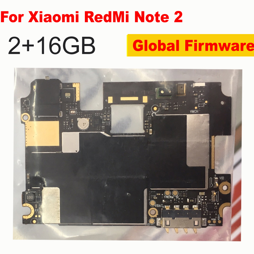 Global Frimware Mainboard For <font><b>Xiaomi</b></font> <font><b>Redmi</b></font> Note <font><b>2</b></font> 16GB Note2 <font><b>Motherboard</b></font> Unlocked With Chips Circuits Flex Cable with google app image