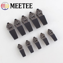 Meetee 10pcs 3# 5# Anti-loading Waterproof Zipper Sliders Reverse Installation for Invisible Nylon Zip Bag Jacket Head Pull